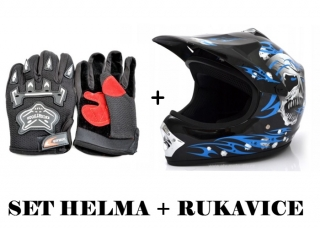 Dětský moto set: modrá cross helma + rukavice - moto atv cross set